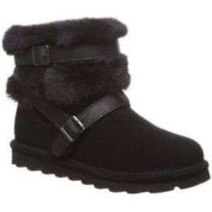 BEARPAW Kiera Suede and Faux Fur Buckled Boot